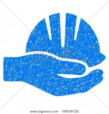 Hand With Helmet grainy textured icon for overlay watermark stamps. Flat symbol with scratched texture. Dotted vector blue ink rubber seal stamp with grunge design on a white background.