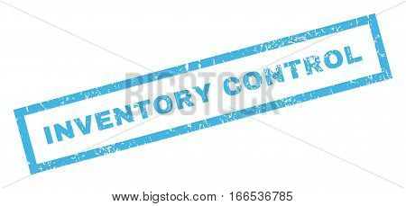 Inventory Control text rubber seal stamp watermark. Caption inside rectangular banner with grunge design and dirty texture. Inclined vector blue ink sticker on a white background.