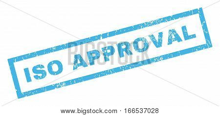 ISO Approval text rubber seal stamp watermark. Caption inside rectangular shape with grunge design and scratched texture. Inclined vector blue ink emblem on a white background.