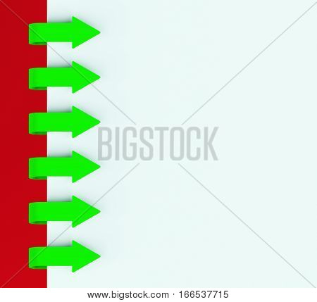 Six Arrow Tabs Over Paper For Menu List 3D Rendering