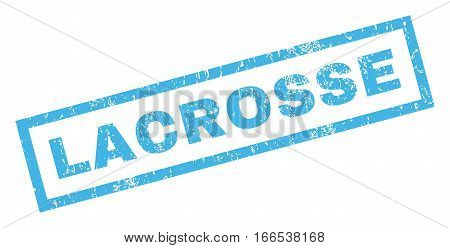 Lacrosse text rubber seal stamp watermark. Caption inside rectangular shape with grunge design and scratched texture. Inclined vector blue ink sign on a white background.