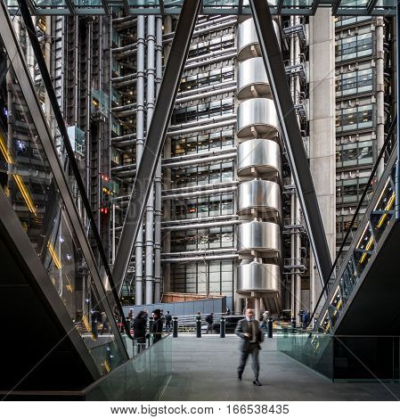 LONDON UK - 28 JANUARY 2016: The modern architecture in the heart of London's business district The City of London with the iconic Lloyds building in the background.