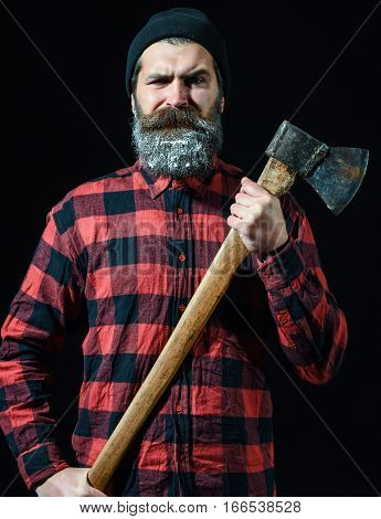 Bearded Handome Man With Axe