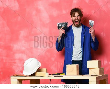 Shouting Man Holding Putty Knife