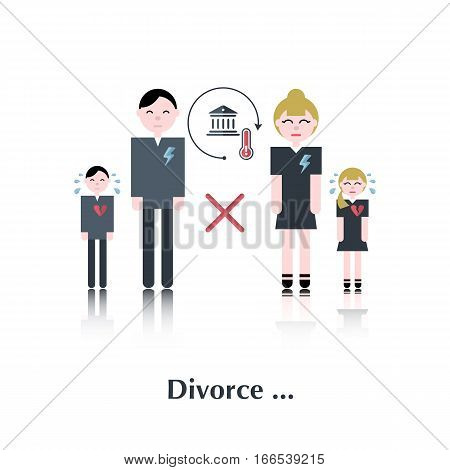 Family in divorce.Vector family people icon, pictogram.Concept relationship in family, court, divorce, crying child, a broken family, heart, over white with text Divorce, in flat stile