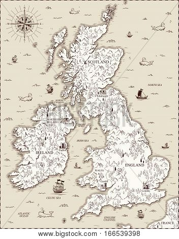 Vector old map, Great Britain view from above