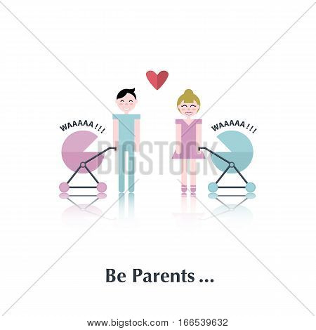 Man and woman.Vector people icon, pictogram.Concept of family relationships, parents, baby carriage, heart , love, red, couple, over white with text Be parents, in flat stile