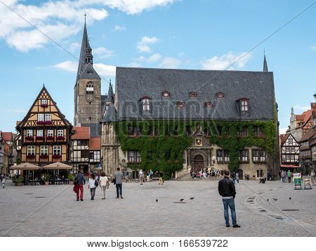 Quedlinburg Market Square And Town Hall, Germany