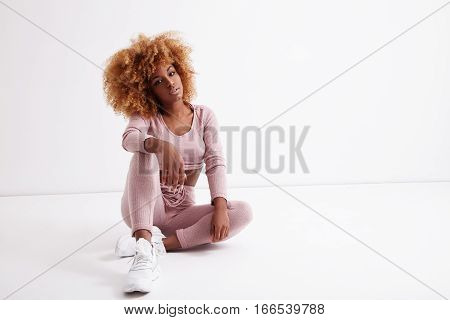 Black Woman With Blonde Curly Afro Hair