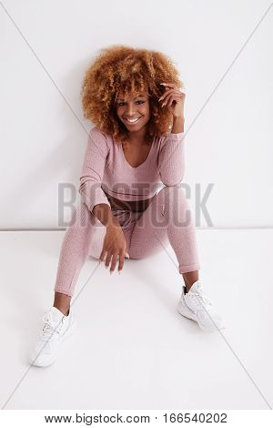 Beauty Smiling Black Woman With Big Blonde Afro Hair