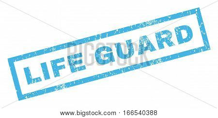 Life Guard text rubber seal stamp watermark. Caption inside rectangular banner with grunge design and dust texture. Inclined vector blue ink emblem on a white background.