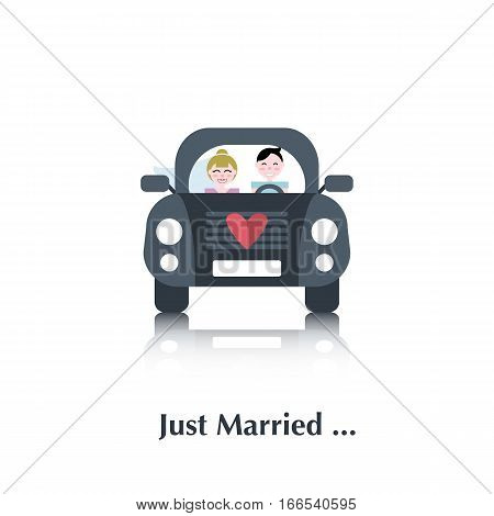Young marriage. Vector male and female people icon, pictogram.Concept of relationship, people marriage, blue, pink, red, couple, heart, car, over white and text Just Married, in flat style