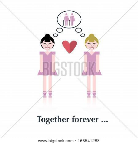 Lesbians family.Vector people icon, pictogram.Concept of strong relationships, lesbians, old people, heart, female, speech bubble over white and text Together forever in flat style
