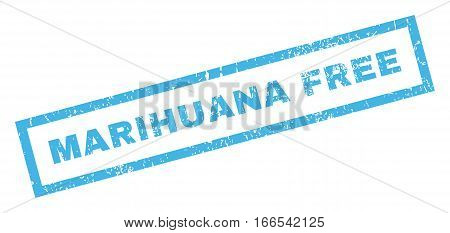 Marihuana Free text rubber seal stamp watermark. Tag inside rectangular shape with grunge design and unclean texture. Inclined vector blue ink sticker on a white background.
