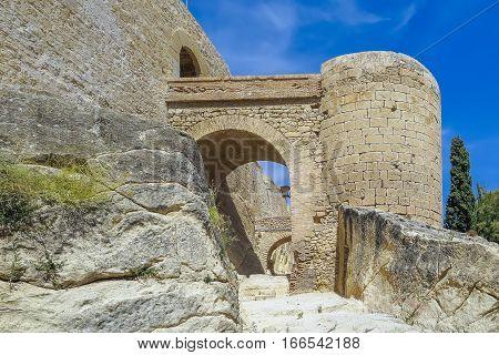 passage bridge and tower inside Santa Barbara castle alicante spain