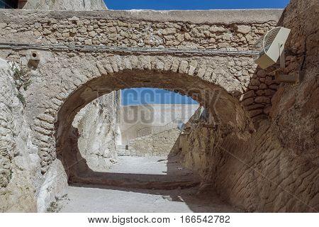passage and bridge inside Santa Barbara castle alicante spain