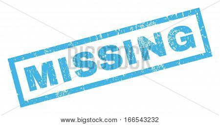 Missing text rubber seal stamp watermark. Tag inside rectangular banner with grunge design and unclean texture. Inclined vector blue ink sign on a white background.