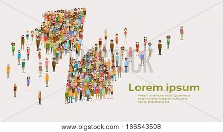 Group of Business People Arrow Big Crowd Businesspeople Mix Ethnic Diverse Flat Vector Illustration