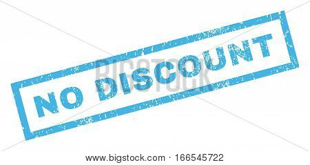 No Discount text rubber seal stamp watermark. Caption inside rectangular shape with grunge design and dirty texture. Inclined vector blue ink sign on a white background.