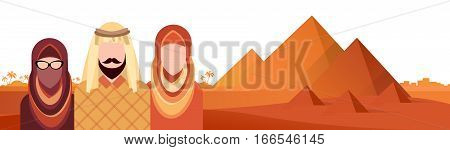 Arab People Group Muslim Arabic Man And Woman Pyramids Background Flat Vector Illustration