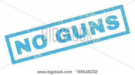 No Guns text rubber seal stamp watermark. Tag inside rectangular shape with grunge design and dirty texture. Inclined vector blue ink sign on a white background.