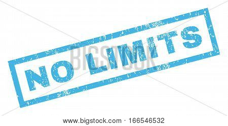 No Limits text rubber seal stamp watermark. Tag inside rectangular banner with grunge design and scratched texture. Inclined vector blue ink sign on a white background.