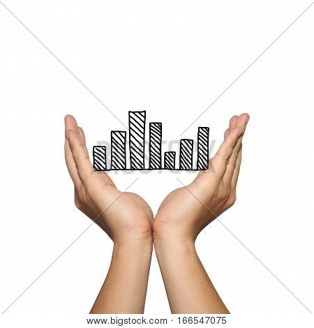 Symbol of business bar graph on man hand in concept of presentation or advertising support your organization isolated on white background.
