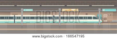 Subway Tram Modern City Public Transport, Underground Rail Road Station Flat Vector Illustration