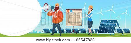Business People Group Wind Turbine Solar Energy Panel Renewable Station Presentation Flat Vector Illustration