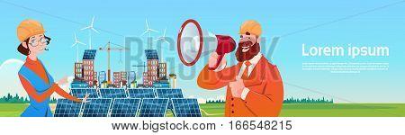 Business People Group Wind Tribune Solar Energy Panel Renewable Station Presentation Flat Vector Illustration