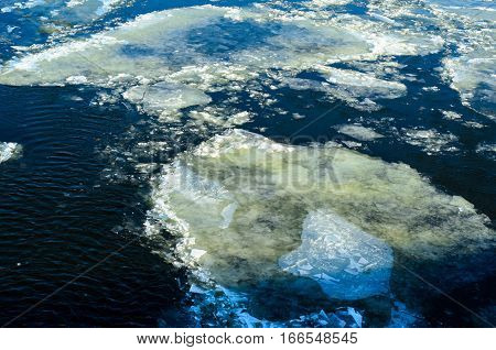 Drifting ice floes on a river Dnieper in Kremenchug Ukraine