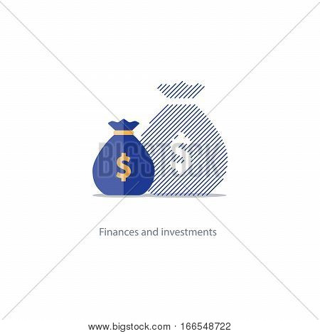 Inflation increase, devaluation concept, invisible expense, corruption size, budget deficit, financial asset consolidation plan, future compound interest, money fund growth, shrink economy vector icon