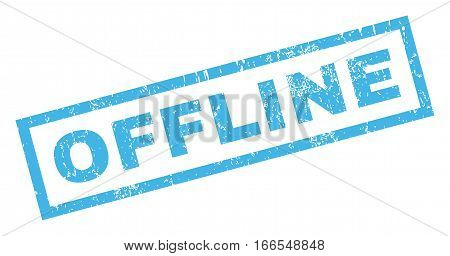 Offline text rubber seal stamp watermark. Tag inside rectangular banner with grunge design and unclean texture. Inclined vector blue ink emblem on a white background.