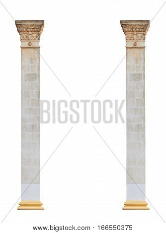 two white columns in the classical architectural style isolated on white background.