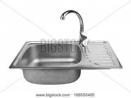 kitchen sink with tap isolated on white background