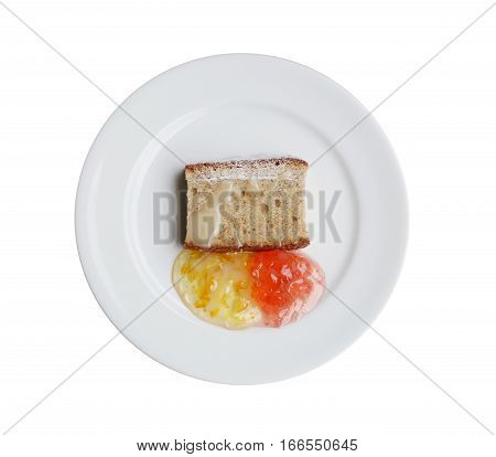 bread and fruit jam on dish isolated on white background.