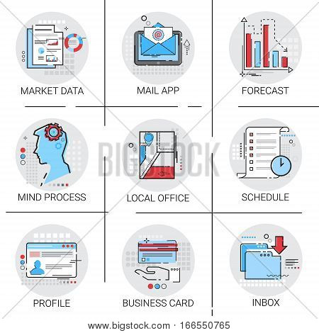 App Email Inbox Message Mail, Market Data Forecast, Schedule Business Card Icon Set Vector Illustration
