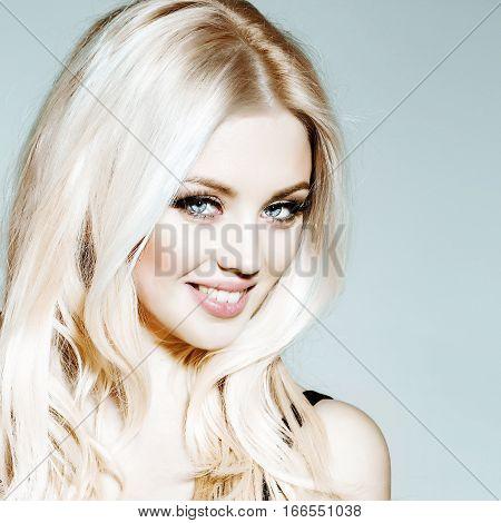 Pretty Smiling Platinum Blonde Girl