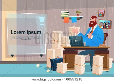 Business Man Sitting Desk Working Place Office Interior Workload Businessman Workplace Stacked Documents Flat Vector Illustration