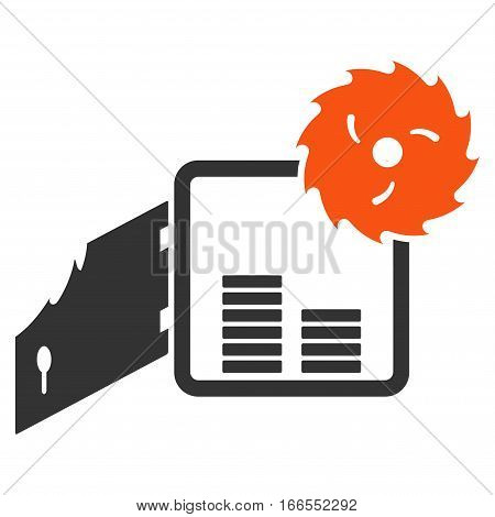Broken Bank Safe vector pictogram. Style is flat graphic symbol.