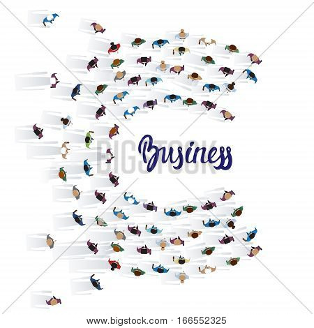 Businesspeople Group Crowd Business People Top View Banner Vector Illustration