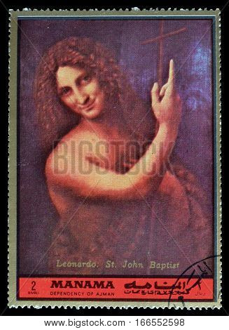 MANAMA - CIRCA 1972 : Cancelled postage stamp printed by Manama, that shows Saint John.