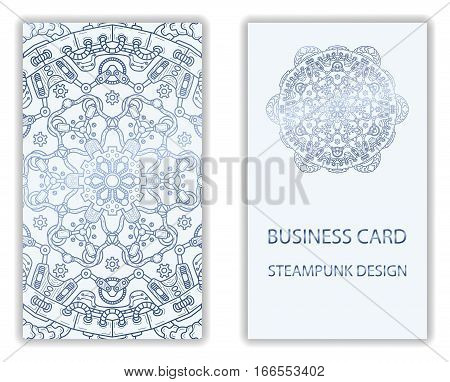 Business card with steampunk abstract design elements. Steam mechanic elements. Steampunk business card abstract design flyer. Vector illustration.