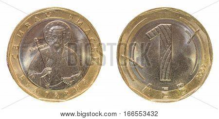 Coin one Bulgarian Lev. Macro. Macro photo of a coin.