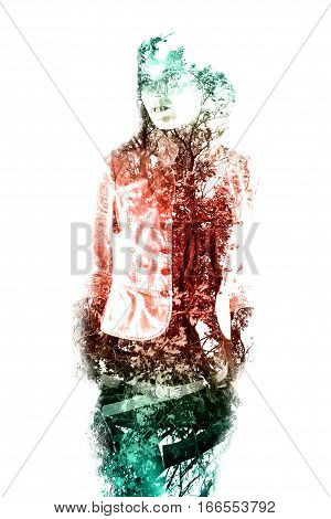Double exposure of a young beautiful girl. Painted portrait of a female face. Picture isolated on white background. Female sad look. Abstract woman face. Watercolor illustration.