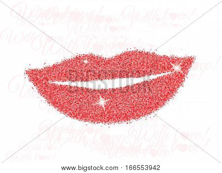 Woman lips with shine red glitter on white background.