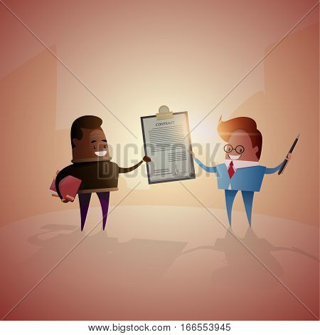 Two Successful Business Man Hold Contract Sign Document Folder Agreement Flat Vector Illustration