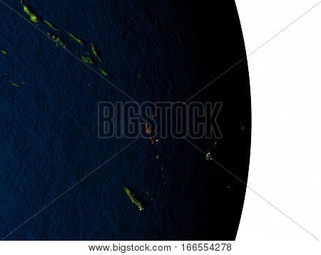 Vanuatu From Space During Dusk