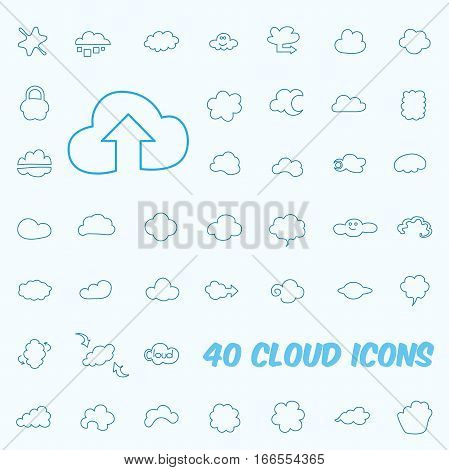 Set of 40 vector Line Cloud icons.