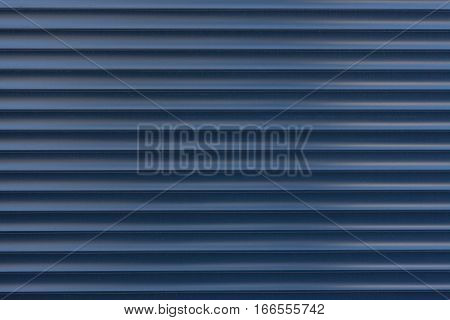 Texture blue blinds made of iron. Metal horizontal blinds.